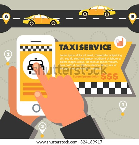 Taxi service illustration in a flat style. Taxi by phone