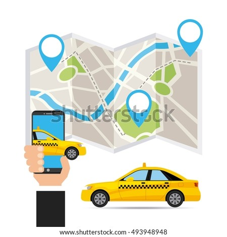 taxi service public transport app technology vector illustration design