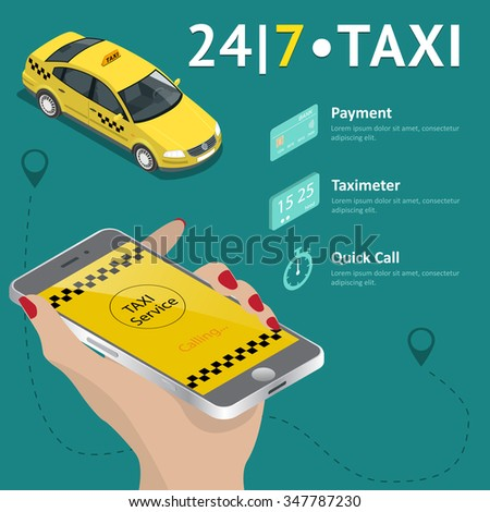 Taxi service. Taxi mobile app template set. Smartphone and touchscreen, map and pointer, gps navigation. Vector illustration. - stock vector