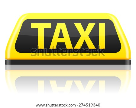 Taxi sign on a white background. Vector illustration. - stock vector