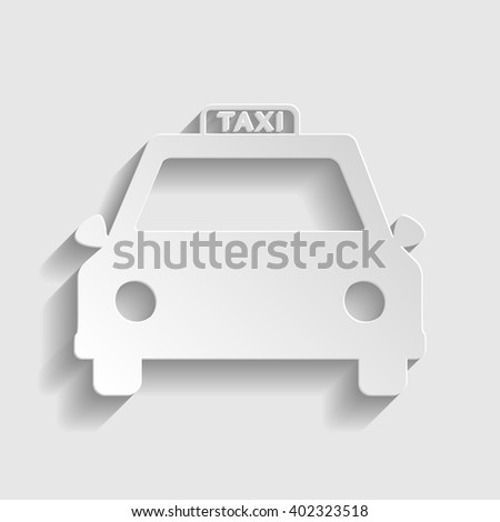 Taxi sign. Paper style icon with shadow on gray.