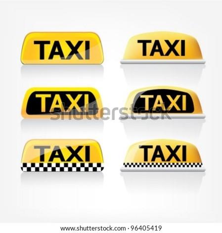 Taxi sign set - stock vector