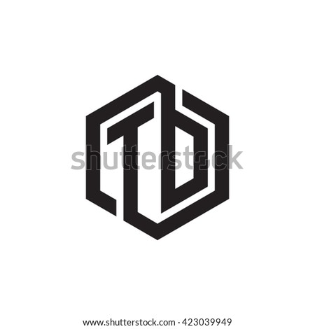 Td Initial Letters Looping Linked Hexagon Stock Vector 2018