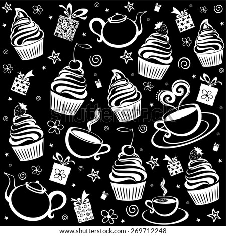 Tea and cake seamless pattern. Menu design. Vector Illustration