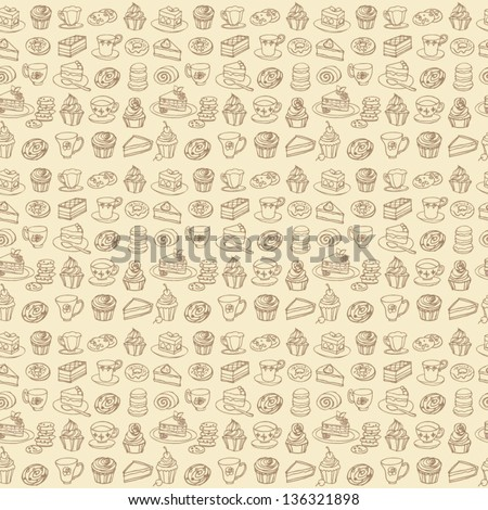 Tea and cakes seamless background pattern - stock vector