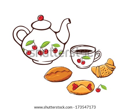 Tea and cakes. Vector.