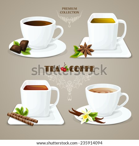 Tea and coffee elegant porcelain cups with saucers set premium collection vector illustration - stock vector