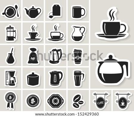 tea and coffee icon set. paper sticker - stock vector