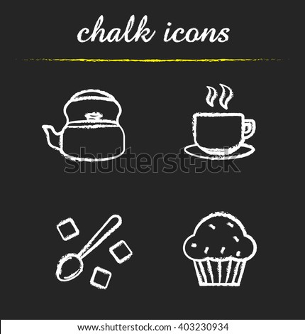 Tea and coffee icons set. Kettle, steaming cup, spoon with lump sugar cubes and muffin illustrations. Isolated vector chalkboard drawings
