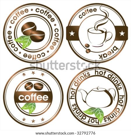 tea and coffee stamps set - stock vector
