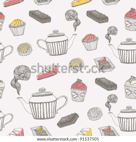 tea and cupcake background - stock vector
