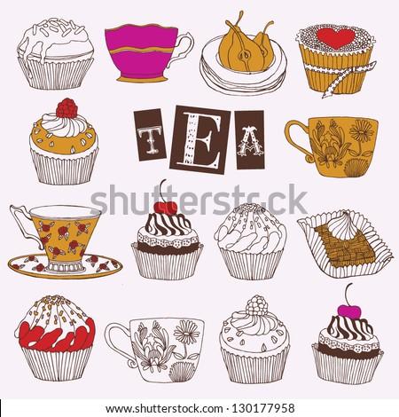 Tea and cupcakes card - stock vector