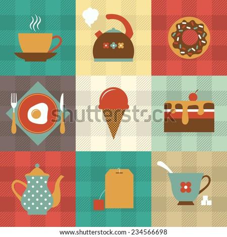 tea and dessert icon set - stock vector