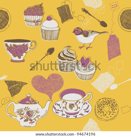 tea and sweets - stock vector