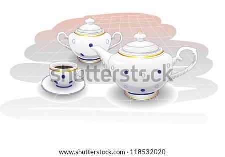 Tea background, tea set for breakfast with polka dot, vector - stock vector