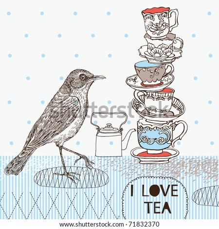 tea background with teacups and bird - stock vector