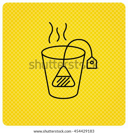 Tea bag icon. Natural hot drink sign. Breakfast beverage symbol. Linear icon on orange background. Vector