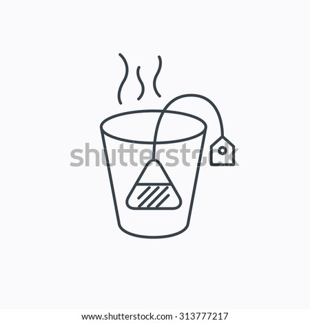 Tea bag icon. Natural hot drink sign. Breakfast beverage symbol. Linear outline icon on white background. Vector