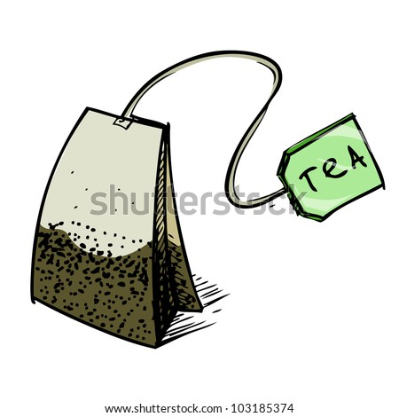 Tea Bag Drawing Tea Bag With Green Label