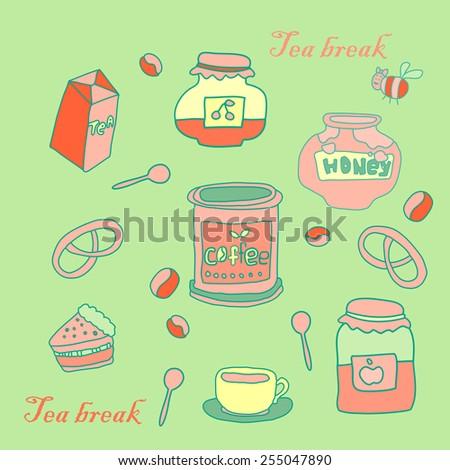 Tea break set.. Hand drawn style. Vector illustration eps10. - stock vector