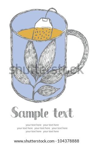 Tea card - stock vector
