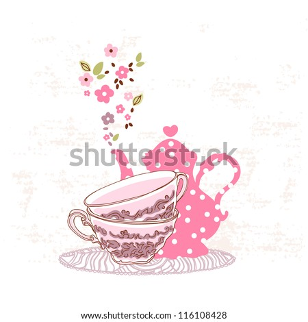 tea card - stock vector