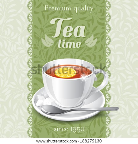 Tea card template for restaurant, cafe, bar - stock vector