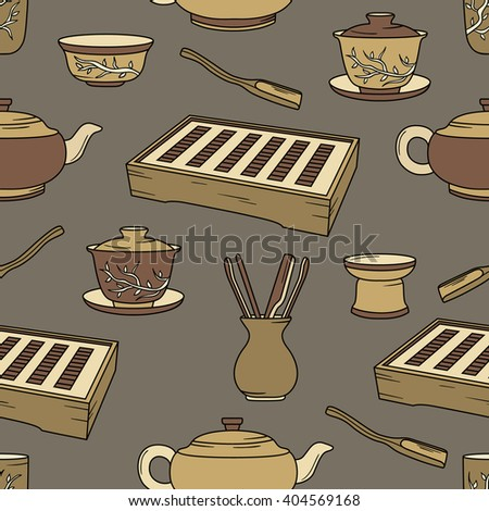 Tea ceremony hand drawn seamless pattern. Big collection sketch objects. Vector illustration chinese tradition