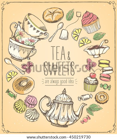 Tea ceremony vector illustration with teapot, cups, sweets, bakery.  Freehand drawing, sketch - stock vector