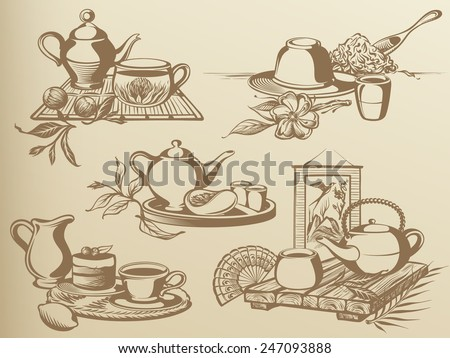 Tea Ceremony: Vintage Drawing Compositions and Still-life - stock vector