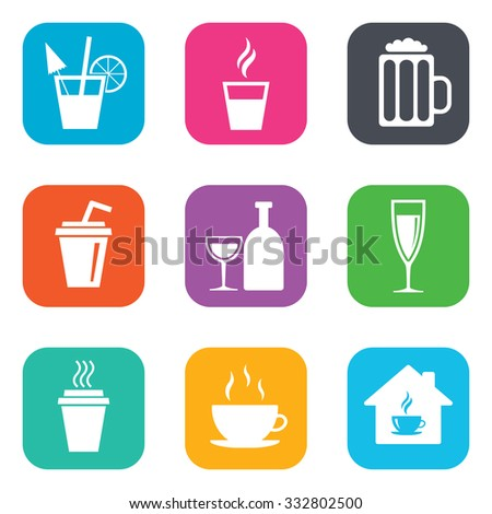 Tea, coffee and beer icons. Beer, wine and cocktail signs. Take away drinks. Flat square buttons. Vector