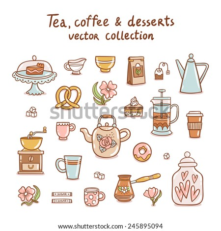 Tea, coffee and desserts vector collection - stock vector