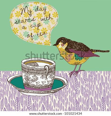 tea cup and bird - stock vector