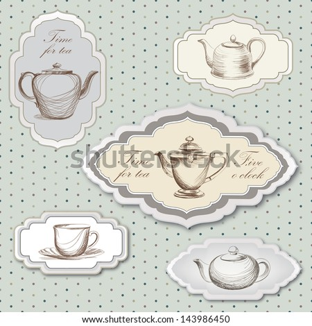 Tea cup and kettle retro card. Tea time vintage label. Tea cup and pot label set in vintage style. - stock vector