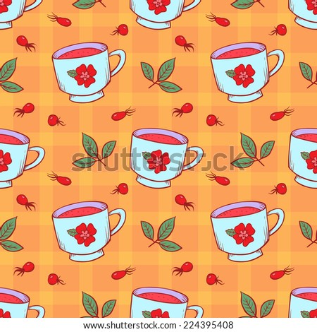 Tea cup and rose hips on checkered tablecloth. Vector seamless pattern.