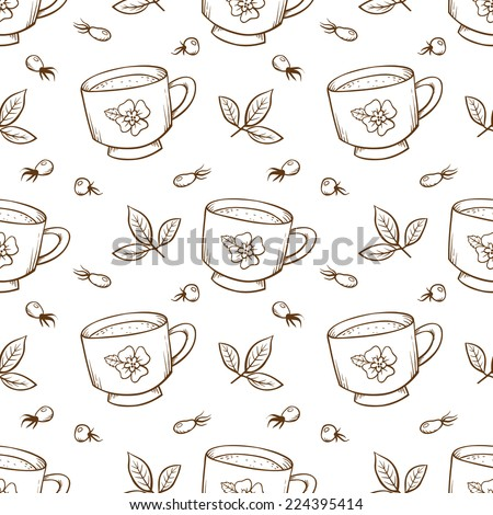 Tea cup and rose hips. Vector seamless pattern.