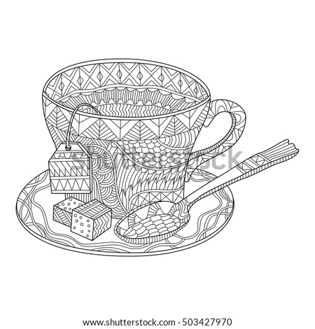 Tea Cup Vector Illustration Coloring Page Stock Vektorgrafik