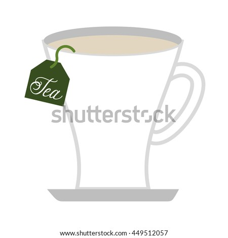 tea cup with bag  isolated icon design, vector illustration  graphic