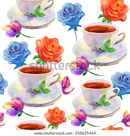 tea cups and flowers. Repeating pattern. Vector. - stock vector