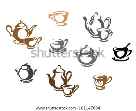 Tea cups and teapots symbols for restaurant or cafe design, such logo. Jpeg version also available in gallery - stock vector