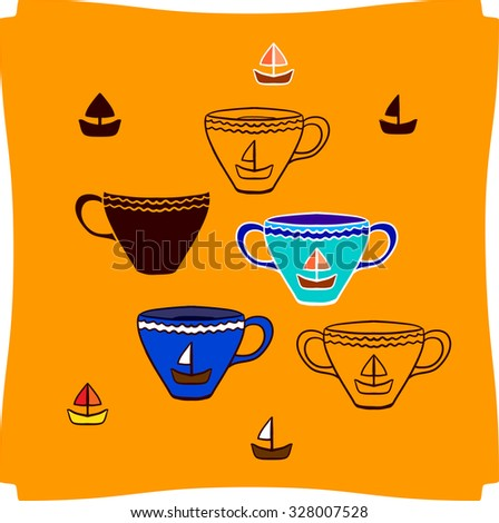 Tea cups and yachts. Vector set.  - stock vector