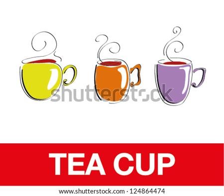 Tea Cups, bacgkrounds - stock vector
