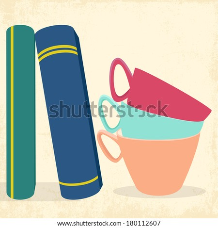 tea cups books and love, illustration vector format