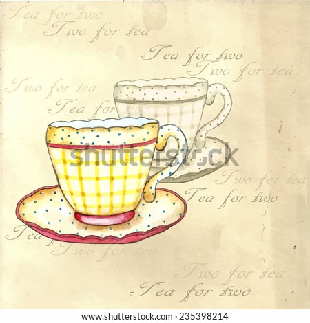 Tea cups watercolor on the retro backgrounds. - stock vector
