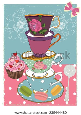 Tea cups with cupcake and floral and polka background - stock vector