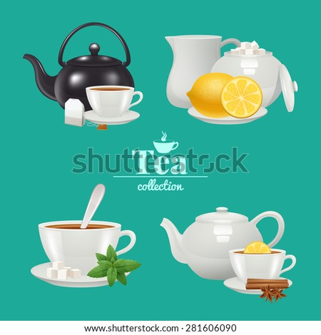 Tea design set with white porcelain service objects isolated vector illustration - stock vector