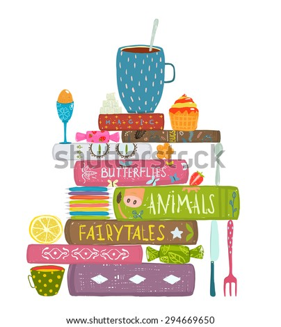 Tea Drinking Eating Pastry and Reading Books Cosy Illustration. Books reading and sweets colorful tea and books concept. Isolated on white. - stock vector