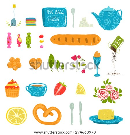 Tea Drinking Party Pastry and Crockery Set Drawing. Tableware and sweets colorful tea party rustic design elements collection. Isolated on white. - stock vector