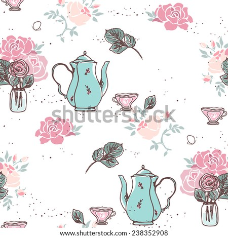 tea garden party seamless pattern - stock vector