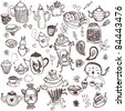 Tea hand-drawn doodle collection in cartoon style - stock photo